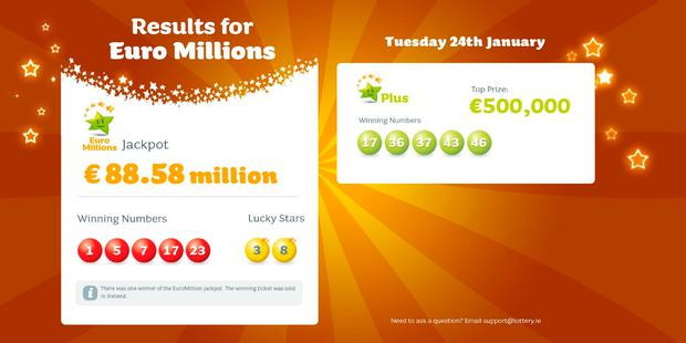 Irish ticket holder wins €88.5m in EuroMillions