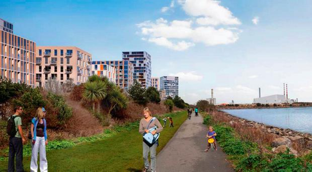 Plans for a new town with 3,000 homes in blocks of up to 50 metres high and office, commercial and retail space for 8,000 workers have been unveiled by Dublin City Council.