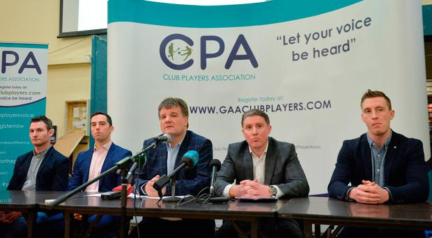 CPA members (l-r) Niall Corcoran, Aaron Kernan, Declan Brennan, Micheál Briody and Kevin Nolan at the organisation's launch earlier this month. Photo: Sportsfile