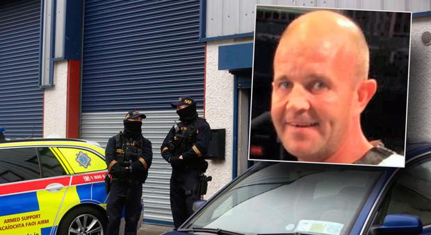Armed gardaí at the scene and inset Gerard 'Hatchet' Kavanagh