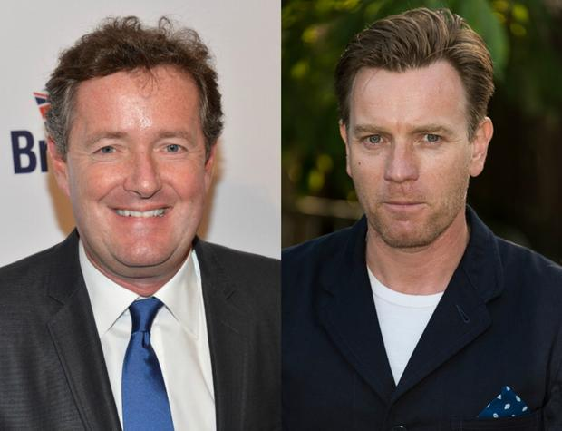 Piers Morgan (L) regrets lack of 'adult conversation' with Ewan McGregor (R) after snub. Images: Getty