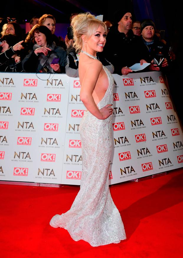 Jorgie Porter arriving at the National Television Awards 2017, held at The O2 Arena, London. PRESS ASSOCIATION Photo. Picture date: 25th January, 2017. See PA Story SHOWBIZ NTAs. Photo credit should read: Ian West/PA Wire