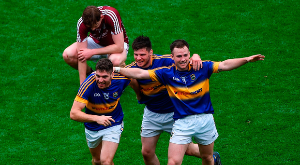 Tipperary players Philip Austin, Martin Dunne and Kevin O'Halloran celebrate their All-Ireland quarter-final win over Galway last summer. Under John O'Leary's proposals Tipp wouldn't have been in the top tier to compete for Sam Maguire. Photo by Daire Brennan/Sportsfile