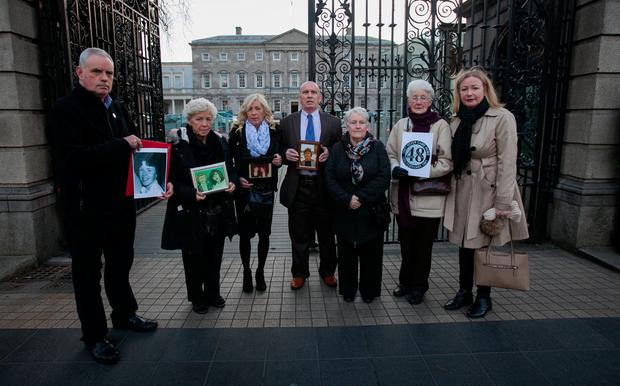 Stardust victims' families outside Leinster House. From left, Christine Keegan and daughter Antoinette, Eugene Kelly, Patricia Kennedy and Bridget McDermott and daughter Louise. Photo: Gareth Chaney Collins