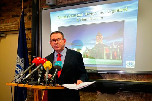 Detective Superintendent Tony Howard, of the Garda National Drugs and Organised Crime Bureau, addresses the media at Dublin Castle after the seizure of weapons belonging to the Kinahan cartel Picture: PA