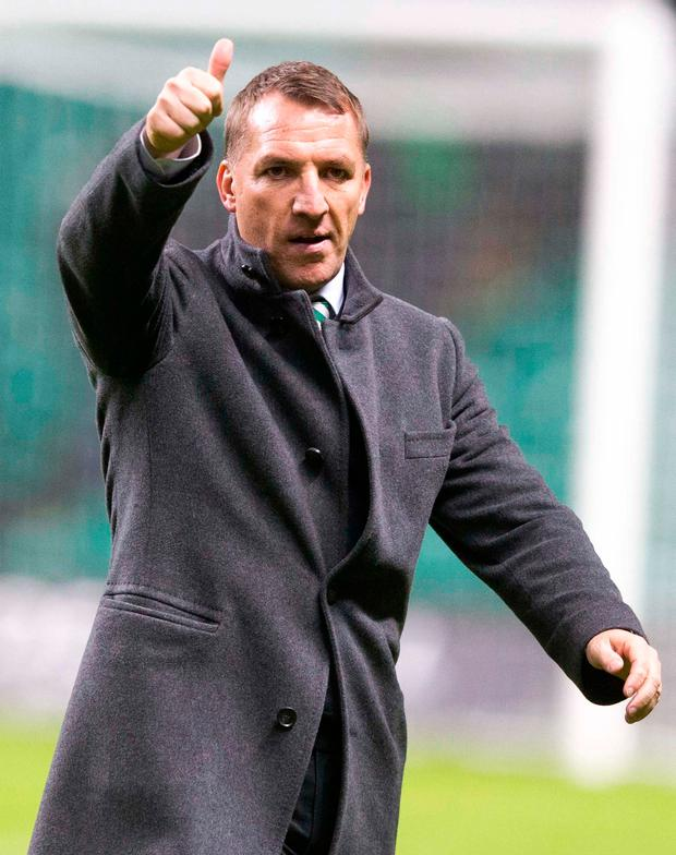 Celtic manager Brendan Rodgers celebrates the record-equalling victory