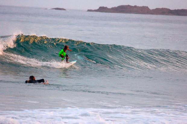 In this photo from Jan. 24, 2017, provided by Chris Hasson, 10-year-old Eden Hasson, Chris' son, surfs near what is believed to be a great white shark at Samurai Beach, Port Stephens, Australia. James Cook University shark researcher Andrew Chin says the photographed shark is possibly a small great white. (Chris Hasson via AP)