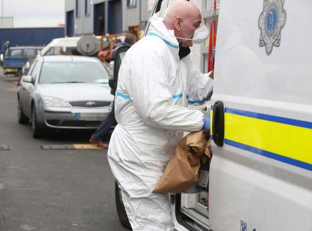 Forensic officers at the Greenogue Industrial Estate in Rathcoole. Photo: Sam Boal/RollingNews.ie