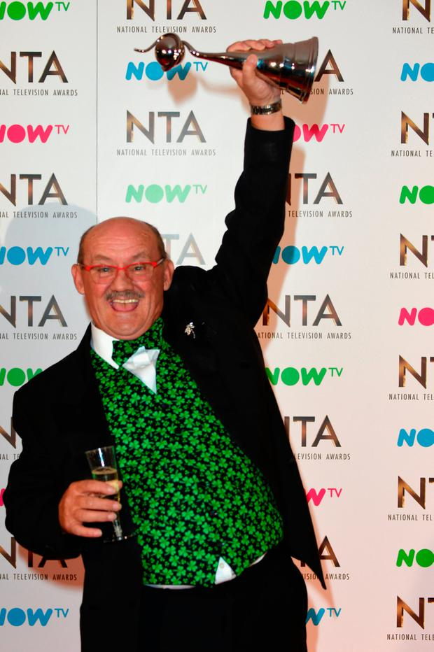 Brendan O'Carroll, winner of the Best Comedy Award for Mrs Brown's Boys during the National Television Awards at The O2 Arena on January 25, 2017 in London, England. (Photo by Anthony Harvey/Getty Images)