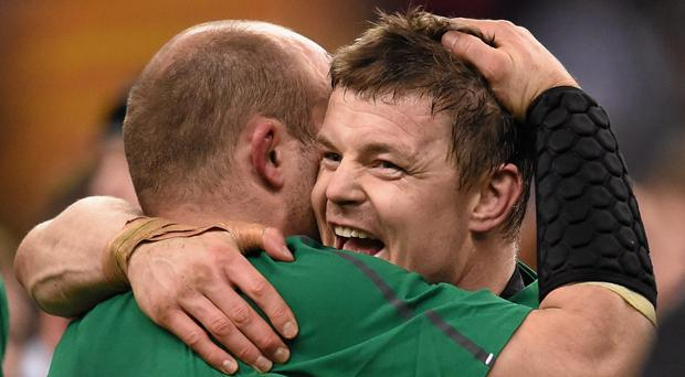 Rory Best and Brian O'Driscoll celebrate their Six Nations triumph in 2014