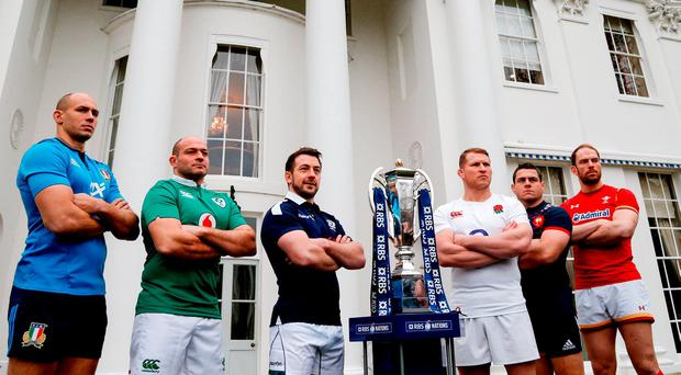 Italy's Sergio Parisse, Ireland's Rory Best, Scotland's Greig Laidlaw, England's Dylan Hartley, France's Guillem Guirado and Wales' Alun Wyn Jones in attendance at the 2017 RBS Six Nations Rugby Championship Launch at The Hurlingham Club in London. Photo by Paul Harding/Sportsfile