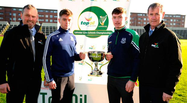 Moate CS captain Harry Cornally and St Peter's counterpart Conor Firman Photo: John Quirke