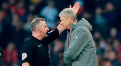 Arsenal manager Arsene Wenger is sent to the stands by referee Jonathan Moss during last week's game against Burnley. Photo: PA