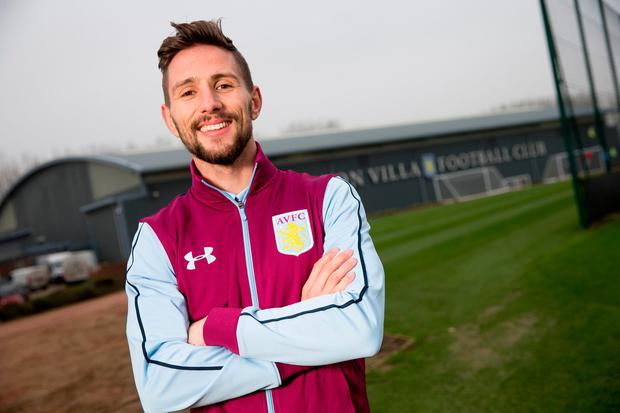Conor Hourihane is all smiles at Aston Villa yesterday after completing his €3.5m move from Barnsley (Photo by Neville Williams/Aston Villa FC via Getty Images)