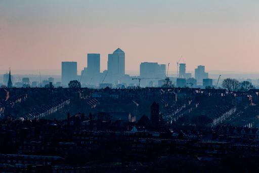 The skyline of Canary Wharf viewed from north London. Ireland's housing crisis may face increased pressure as a result of an influx of workers moving to the country due to Brexit. Photo: Steven Paston/PA Wire