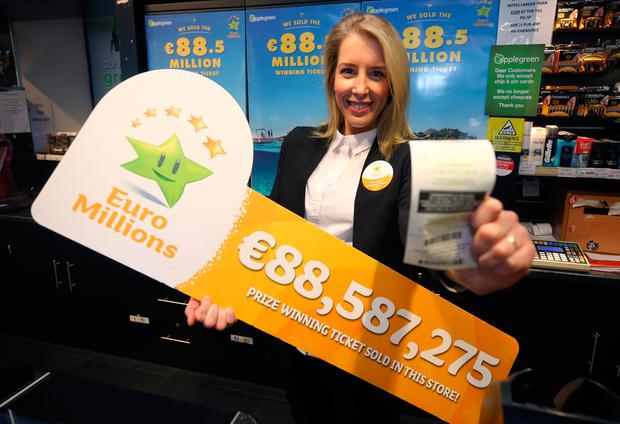 Ernesta Sukyte, assistant manager of the Lusk Applegreen station that sold the winning 88.5m ticket in the Euromillions draw. Picture credit; Damien Eagers 27/1/2017