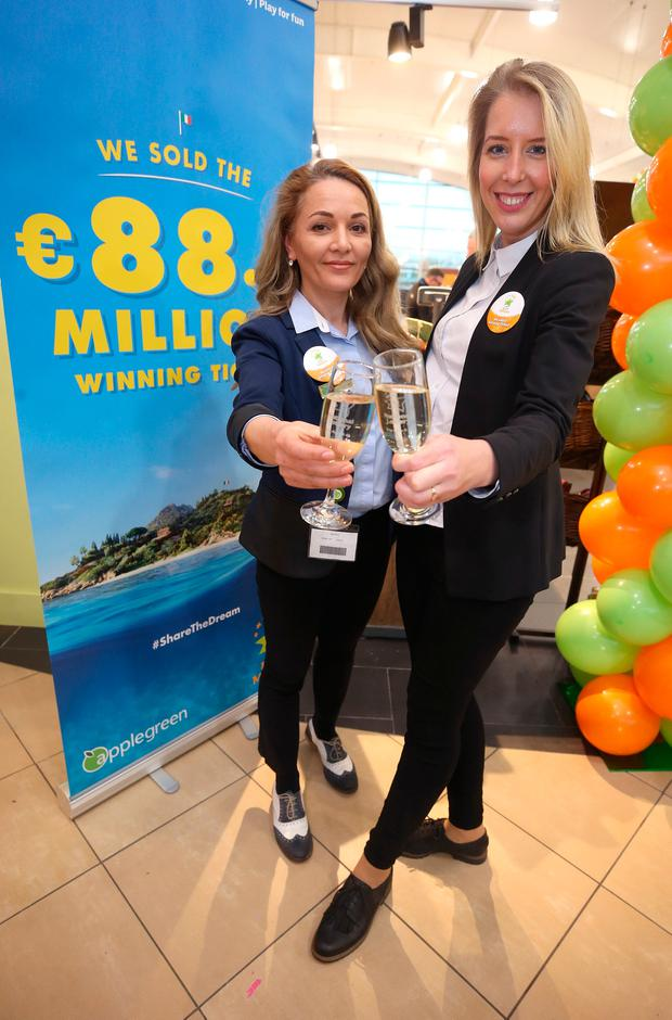Staff members, Severina Balanuta, left, and Ernesta Sukyte, right, assistant manager of the Lusk Applegreen station that sold the winning 88.5m ticket in the Euromillions draw. Picture credit; Damien Eagers 27/1/2017