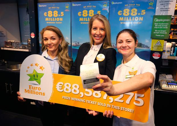 Staff members, Severina Balanuta, Ernesta Sukyte, and Elena Panuta, from the Lusk Applegreen station that sold the winning 88.5m ticket in the Euromillions draw. Picture credit; Damien Eagers 27/1/2017