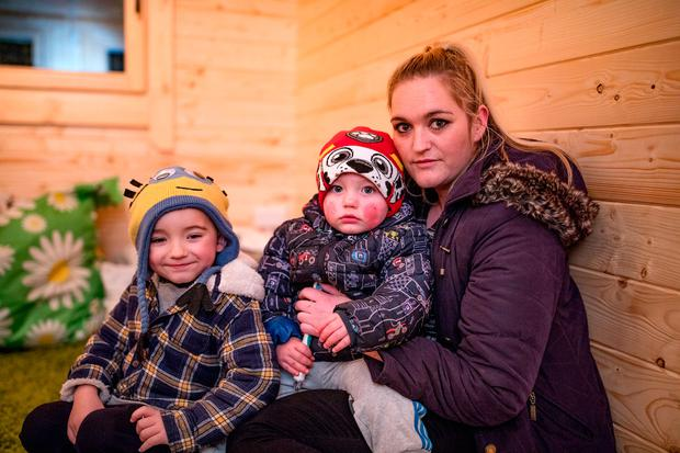 Hazel Robinson with hers sons Tyler, age 4 and Theo, 1, whose daughter Gypsi, age 14 suffers with Cystic Fibrosis and has to travel from Longford to Crumlin for treatment Picture: Arthur Carron