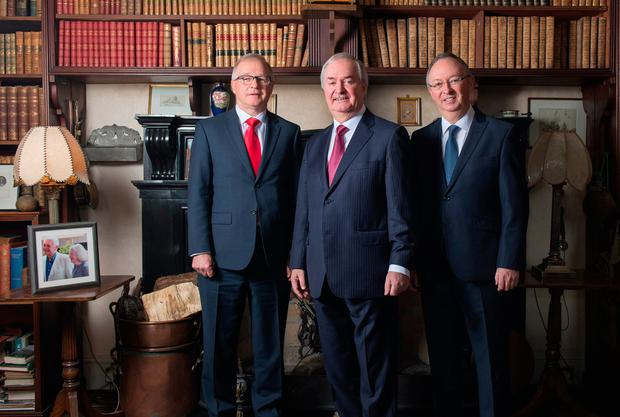 Browne family confirm the sale of historic Westport House and Estate. Owners of Hotel Westport to invest €50 million and create 200 jobs. Pictured at Westport House today. L/R Mr. Owen Hughes, Mr. Cathal Hughes (Chairman of The Hughes Group) and Mr. Harry Hughes. Pic: Michael McLaughlin