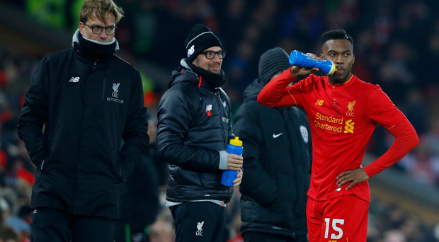 Liverpool manager Juergen Klopp and Daniel Sturridge during the the EFL Cup loss to Southampton Reuters / Phil Noble Livepic