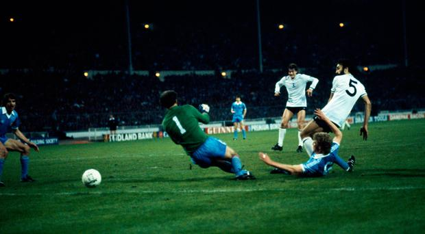 Golden moments: Ricky Villa shoots past Manchester City goalkeeper Joe Corrigan to score the winning goal for Tottenham the 1981 FA Cup final replay. Photo: Popperfoto/Getty Images