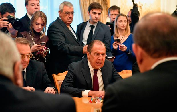 Russian Foreign Minister Sergei Lavrov (centre) meets representatives of Syria's political opposition in Moscow yesterday. Photo: Getty