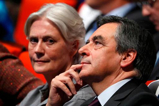 Presidential hopeful François Fillon and his wife Penelope. Photo: Reuters