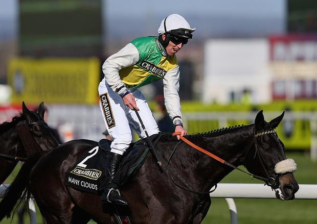 LIVERPOOL, ENGLAND - APRIL 11: Many Clouds ridden by Leighton Aspell wins the 2015 Crabbie's Grand National at Aintree Racecourse on April 11, 2015 in Liverpool, England. (Photo by Alex Livesey/Getty Images)