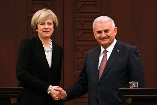 Prime Minister Theresa May at a press conference in Ankara, Turkey with the Turkish Prime Minister Binali Yildirim (Image: Stefan Rousseau/PA Wire)
