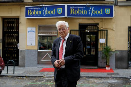 Father Angel 79 poses for a portrait outside Robin Hood restaurant Madrid, Spain. (Photo by Pablo Blazquez Dominguez/Getty Images)