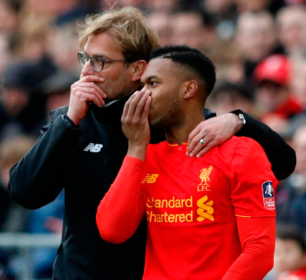 Liverpool's Daniel Sturridge with Liverpool manager Juergen Klopp before coming on as a substitute. Photo: Phil Noble/Reuters
