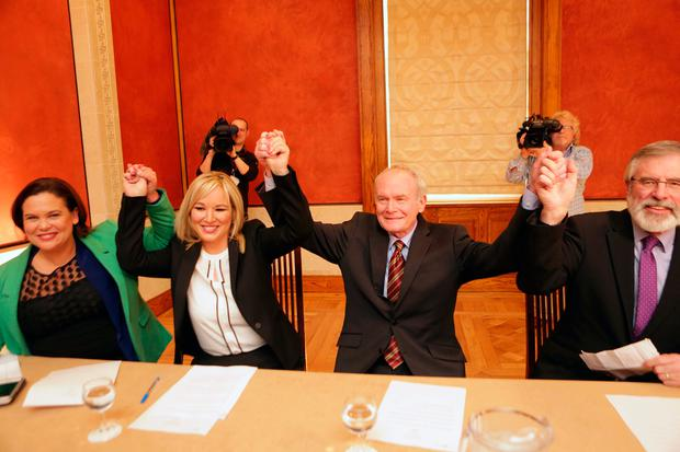 NO GIRL POWER! Mary Lou McDonald, Michelle O'Neill, Martin McGuinness and Gerry Adams smile for the cameras as Northern Ireland's election campaign began. Photo: Paul McErlane/RollingNews.ie