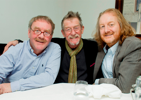 Actor John Hurt with Artistic Director of the Gate Theatre Michael Colgan and Sunday Independents Barry Egan. Picture By David Conachy. 18/03/2013