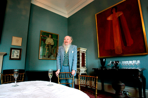 Garech a Brun in his home at Luggala, Co Wicklow, once the scene of parties for poets, musicians, cerebral types and politicians. The house has been put up for sale for €28m. Photo: David Conachy