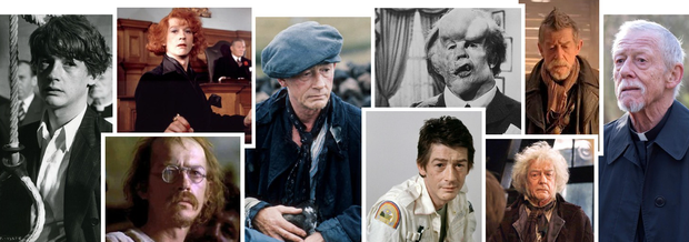 HE HAD THE MOST EXPRESSIVE EYES: The late John Hurt, from left, as Timothy Evans in '10 Rillington Place', as Max in 'Midnight Express', as Quentin Crisp in 'The Naked Civil Servant', as Bird O'Donnell in 'The Field', as Kane in 'Alien', as John Merrick in 'The Elephant Man', as Mr Olivander in 'Harry Potter', as the War Doctor in 'Doctor Who', and in his most recent role — currently in cinemas everywhere — as the priest in 'Jackie'
