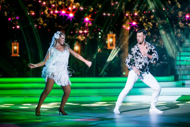 Katherine Lynch & Kai Widdrington: dancing the Samba to 'Voulez Vous'by Abba , pictured during the Fourth live show of RTE's Dancing with the stars. kobpix