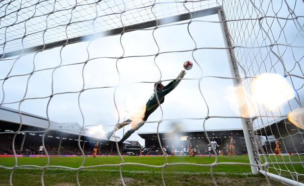 Fulham's Marcus Bettinelli makes a save. Photo: Reuters / Dylan Martinez