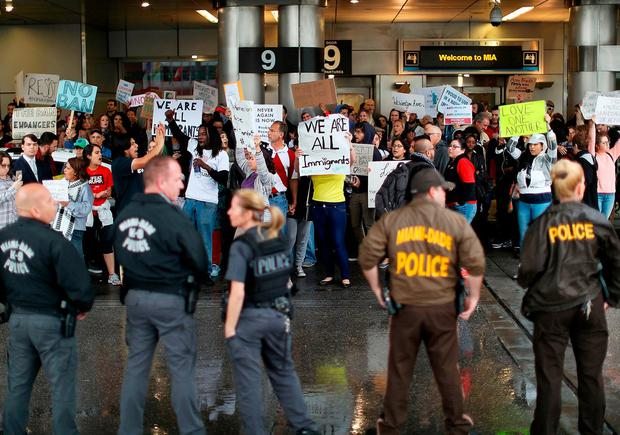 Protesters at the Miami International Airport against the executive order that President Donald Trump signed clamping down on refugee admissions and temporarily restricting travelers from seven predominantly Muslim countries. Photo: Joe Raedle/Getty Images