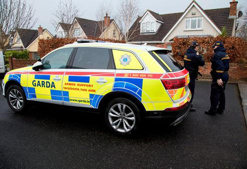 Gardaí from the Armed Support Unit at the scene of an arms and drugs haul in Sallins, Co Kildare. Photos: Fergal Phillips