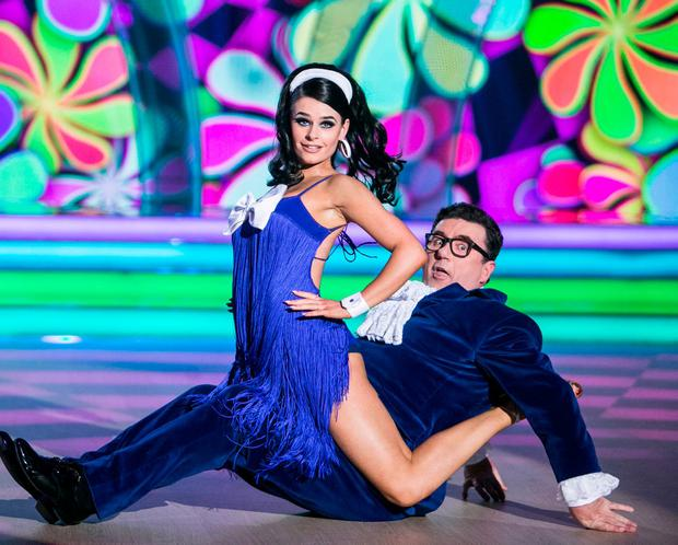Des Cahill and Karen Byrne perform on RTÉ's Dancing with the Stars last night. Photos: Kyran O'Brien.