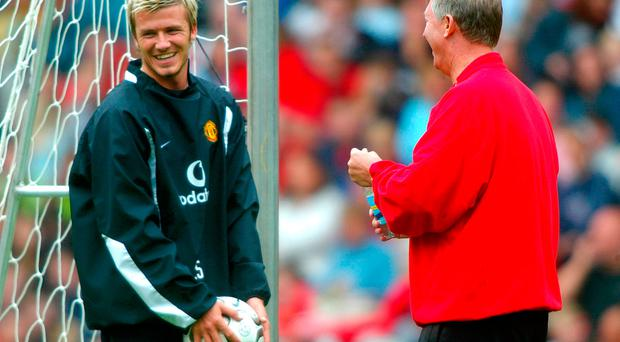 File photo dated 08-08-2002 of Manchester United manager Sir Alex Ferguson shares a joke with David Beckham. PRESS ASSOCIATION Photo. Issue date: Sunday January 29, 2017. David Beckham has accepted he made mistakes in his time at Manchester United that led to a breakdown in relations with Sir Alex Ferguson.