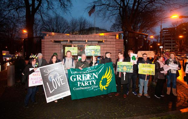 Members of the Public during a Green Party Protest over US President Donald Trump's policies outside the American Embassy in Ballsbridge, Dublin. Photo: Gareth Chaney Collins