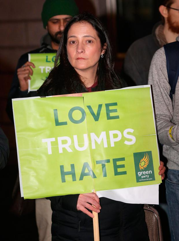 Green Party TD Catherine Martin during a Green Party Protest over US President Donald Trump's policies outside the American Embassy in Ballsbridge, Dublin. Photo: Gareth Chaney Collins