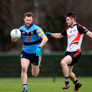 Jack McCaffrey of University College Dublin in action against Robbie Smyth of Institute of Technology Sligo during the Independent.ie HE GAA Sigerson Cup