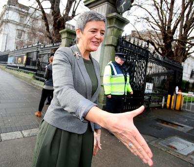 EU Competition Commissioner Margrethe Vestager at Leinster House yesterday. Photo: Tom Burke