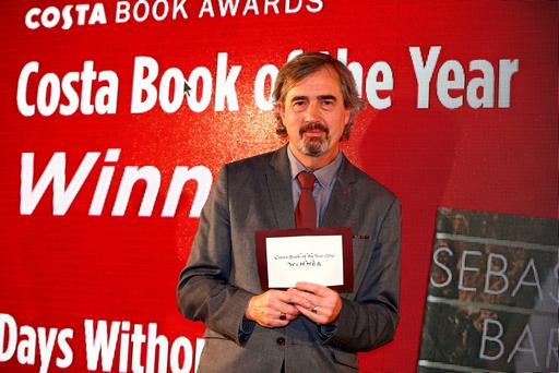 Author Sebastian Barry celebrates his win at the 2016 Costa Book of the Year Award in London. Photo: REUTERS/Peter Nicholls
