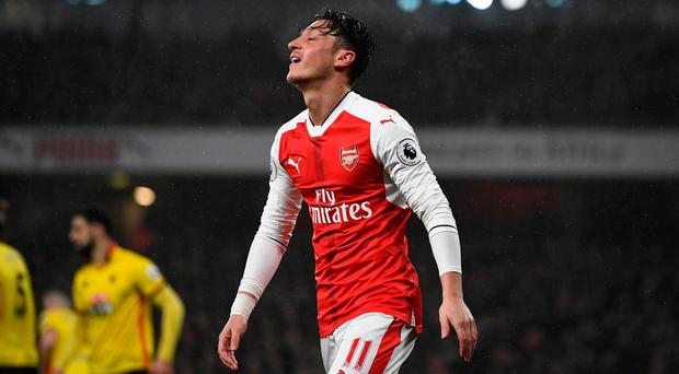 Arsenal's Mesut Ozil shows his frustration during the Premier League defeat to Watford. Photo: REUTERS