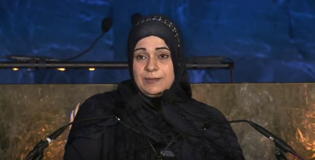 Hala Kamil speaking at the United Nations' World Humanitarian Day event in New York last year. Image: YouTube