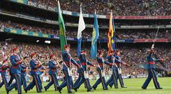 4 September 2016; The Artan Band leads both teams out ahead of the GAA Hurling All-Ireland Senior Championship Final match between Kilkenny and Tipperary at Croke Park in Dublin. Photo by Cody Glenn/Sportsfile